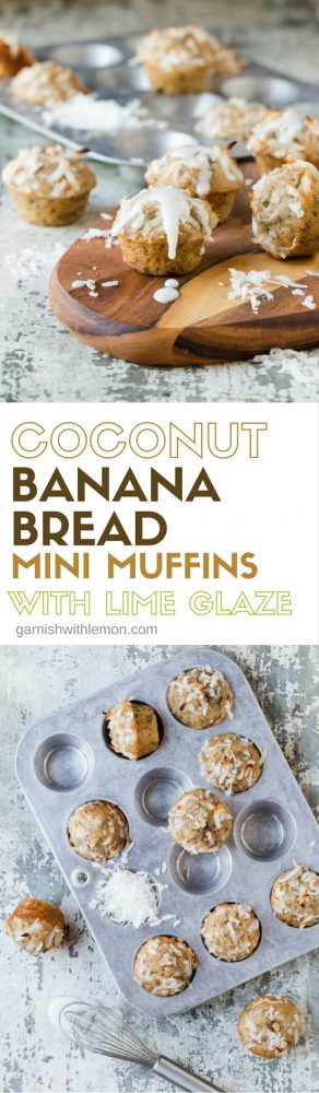 These Coconut Banana Bread Mini Muffins with Lime Glaze are a delicious, tropical addition to any brunch menu. They freeze well, too!