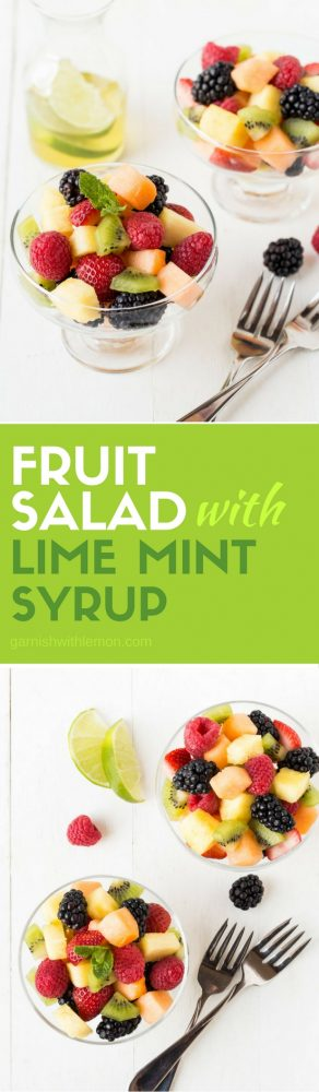 Bringing fruit to your next potluck? Skip the grocery store fruit tray and make this easy Fruit Salad with Lime Mint Syrup instead!