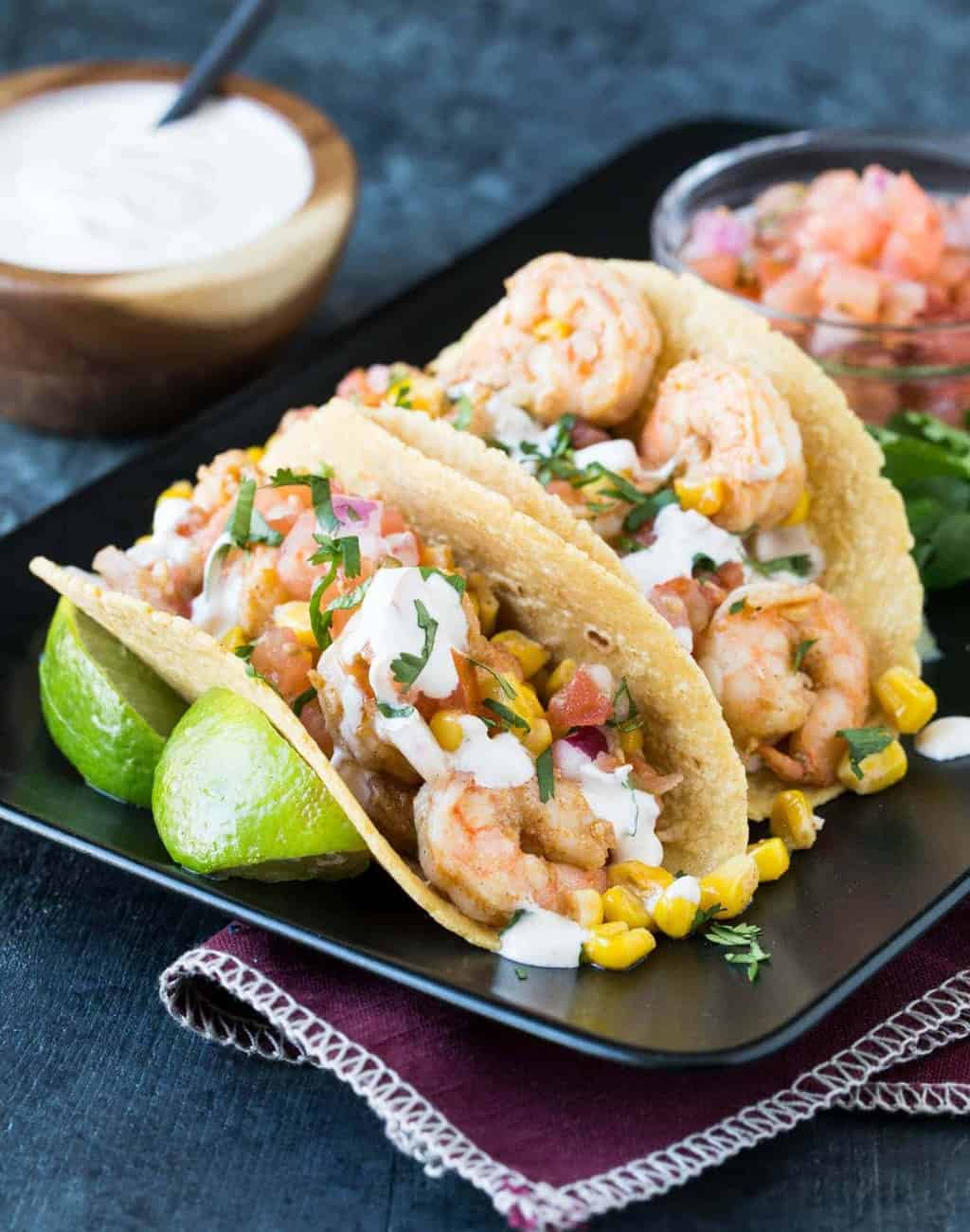 Taco bars are always a hit with a group. These Shrimp Tacos with Chipotle Cream are just what your next fiesta needs,