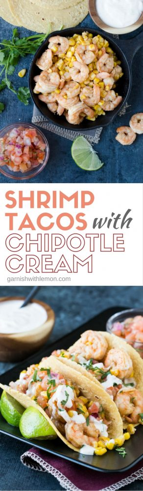 Plates of Shrimp tacos with chipotle cream.