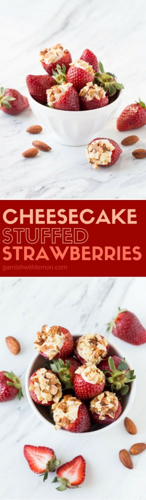 Need a quick and easy dessert idea? These 5-ingredient Cheesecake Stuffed Strawberries couldn't be simpler to make and are always a huge hit!
