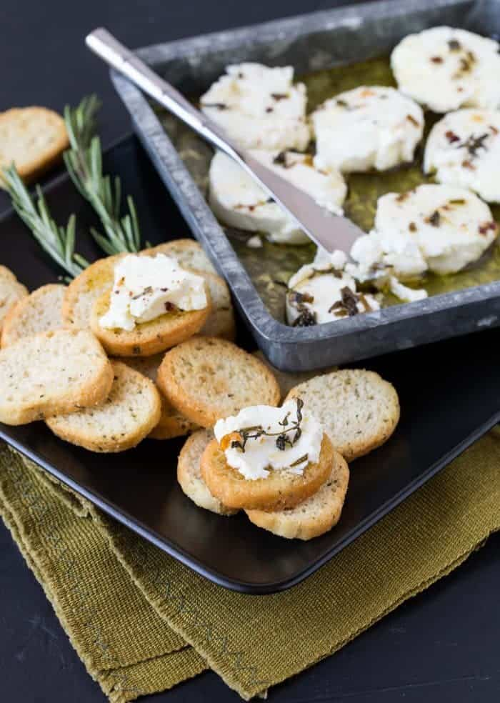 This marinated goat cheese recipe is so easy, it's going to be your new go-to appetizer!
