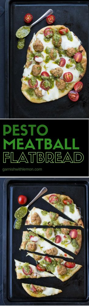 Grocery store shortcuts ensure this Pesto Meatball Flatbread comes together in less than 20 minutes. Great an an appetizer or easy weeknight meal!