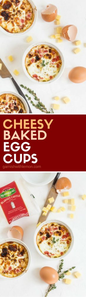 These Cheesy Baked Egg Cups have only five ingredients and can be ready for brunch in less than 30 minutes!