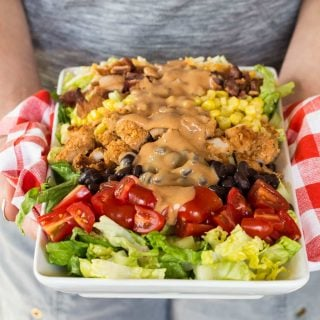 This cool Crunchy Honey BBQ Chicken Salad recipe is a perfect dinner option for hot summer nights. Makes a great entree for a potluck, too!