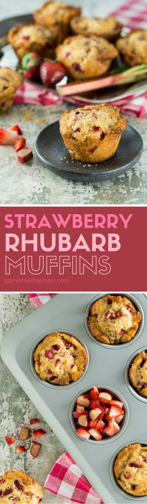Strawberry Rhubarb Muffins in muffin tins.