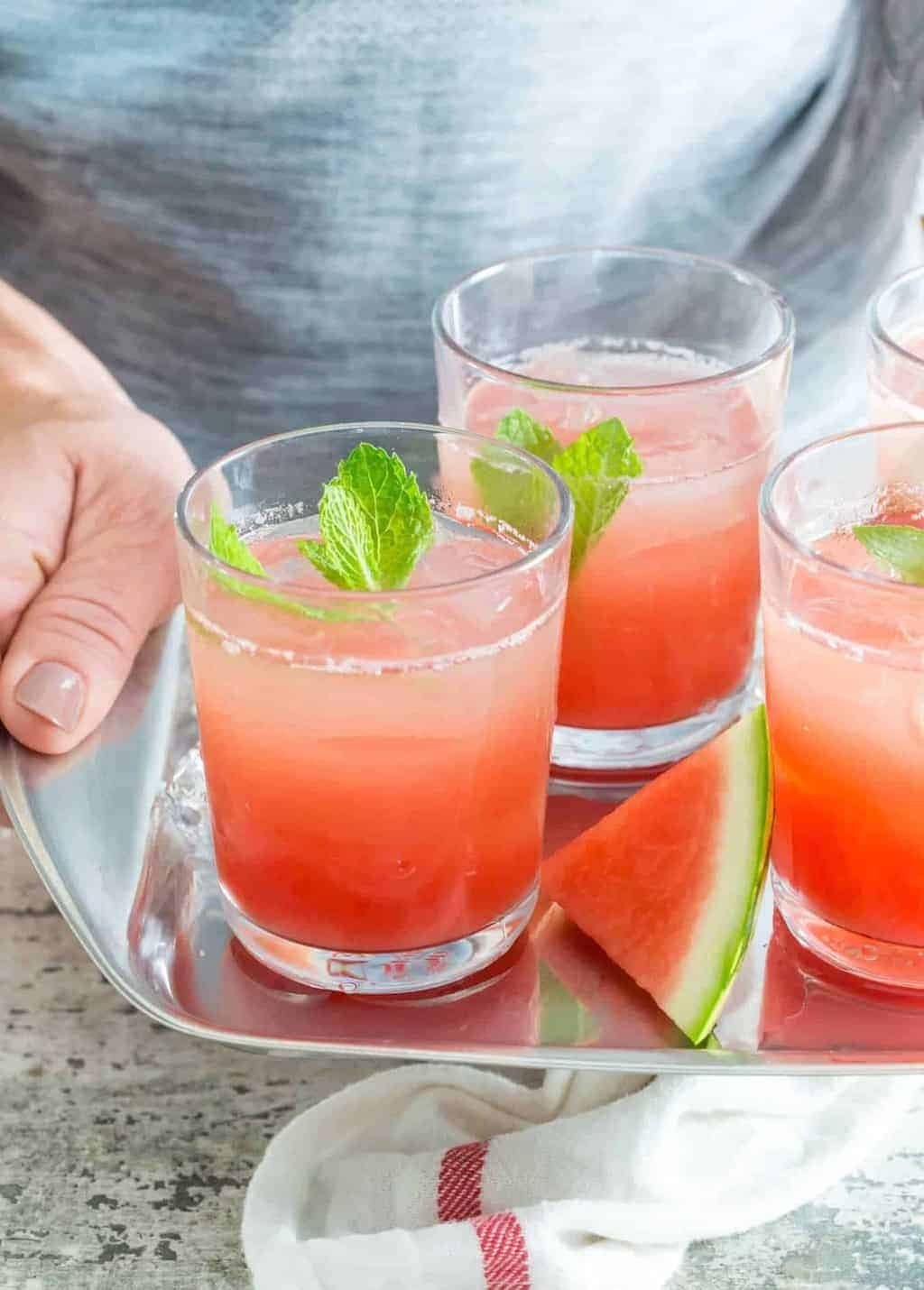Watermelon Gin Punch - Garnish with Lemon