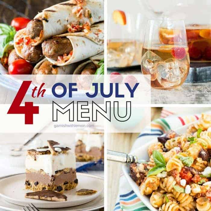 Picture of 4th of July menu items including a glass of sangria, a pasta salad, grilled sausages and an ice cream cake.