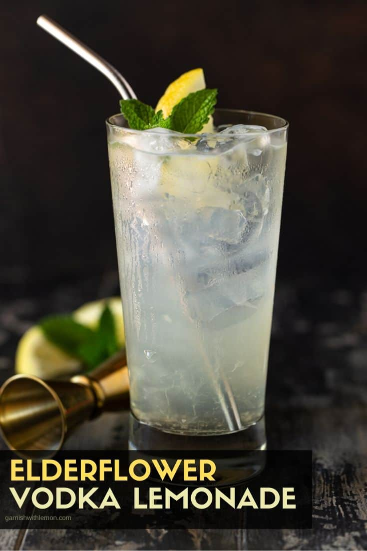 Lemon and Vodka in a glass.