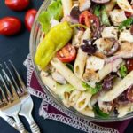 Fire up your grill and make this easy Greek Turkey Pasta Salad recipe!