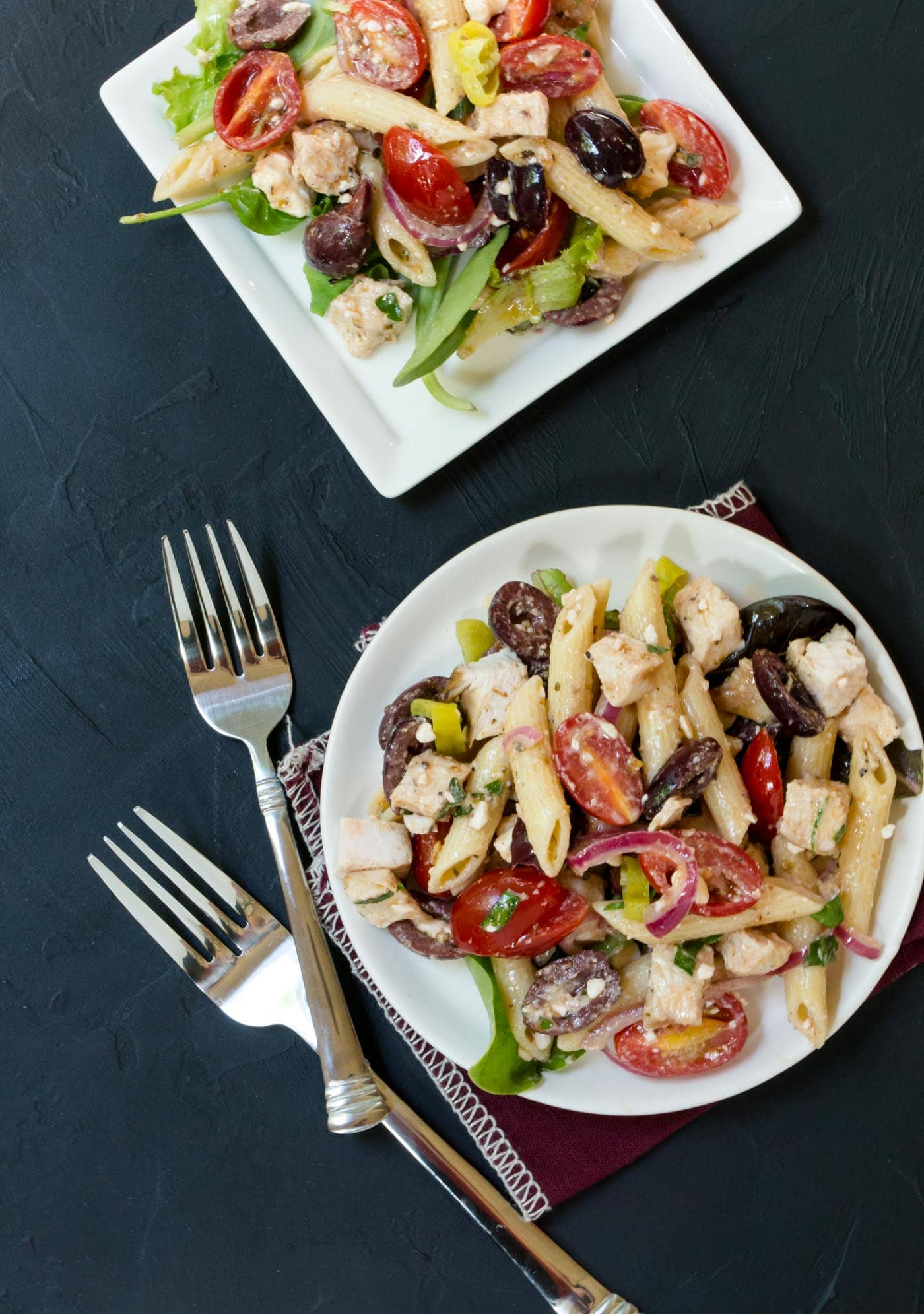 Fire up the grill and make this mayo free Greek Turkey Pasta Salad recipe! It's great for a summer BBQ!