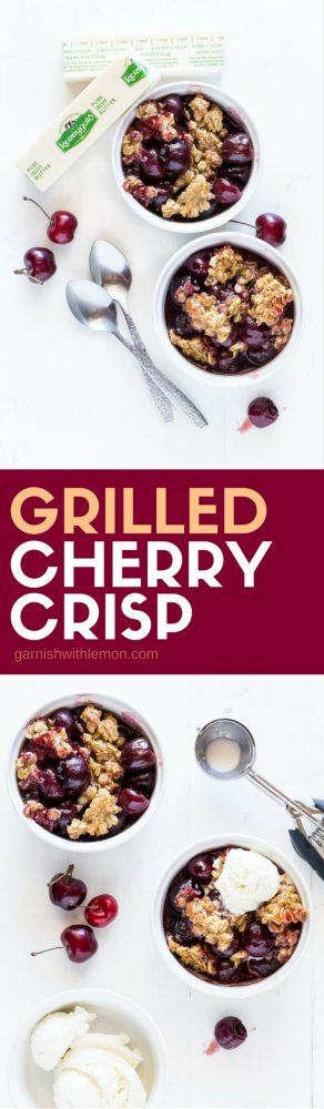 Need a delicious summer dessert recipe? This Grilled Cherry Crisp is always a crowd-pleaser. Plus it's baked in a foil pan to make clean up super easy!