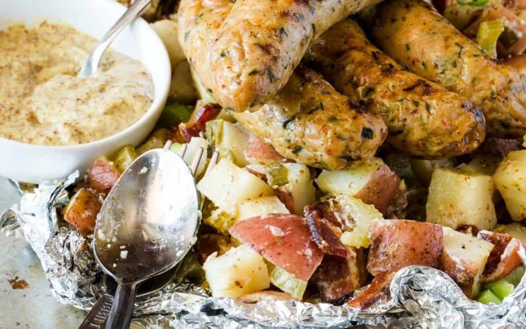 Grilled German Potato Salad with Sausage