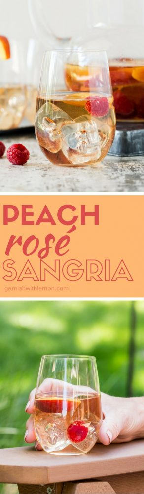Whip up a pitcher of this refreshing Peach Rosé Sangria for your next summer BBQ! It's the perfect make-ahead batch cocktail recipe for groups!