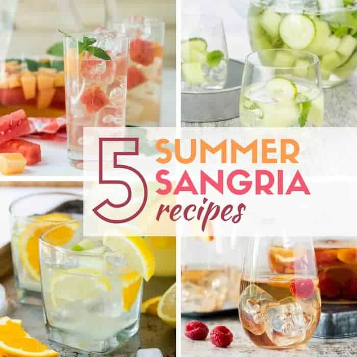 Image of 4 sangria recipes using fruit, rosé and white wines.
