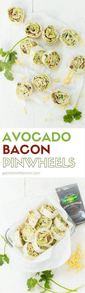 These Avocado Bacon Pinwheels are great for a party or make an easy on-the-go lunch!