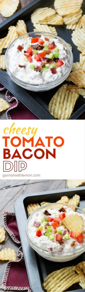 Cheesy Tomato Bacon Dip is a tasty make-ahead cold appetizer that is easy to transport and a perfect addition to any party spread.