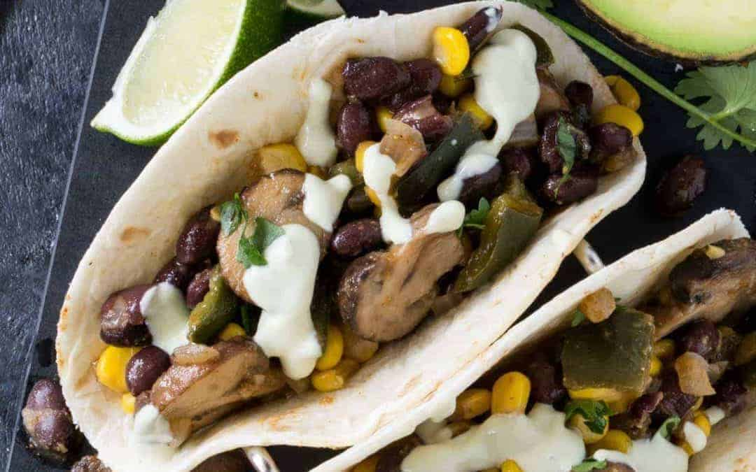 Corn and Mushroom Tacos with Avocado Crema