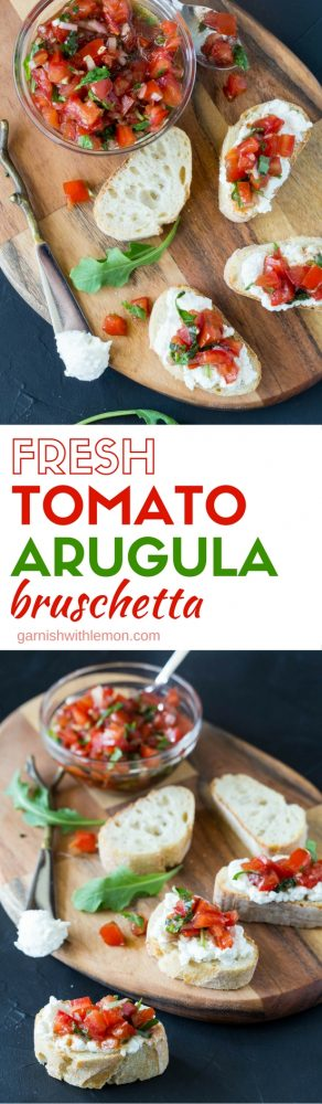This easy to make Fresh Tomato Arugula Bruschetta recipe highlights the flavors of summer and is sure to become your go-to summer party food!