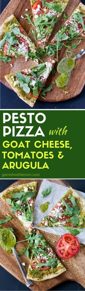 This Pesto Pizza with Goat Cheese, Tomatoes and Arugula is like a salad and pizza in one delicious mouthful!