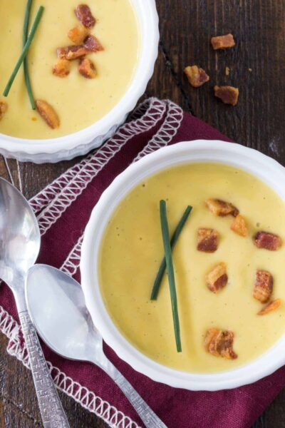 Sweet Corn Soup with Crispy Pancetta