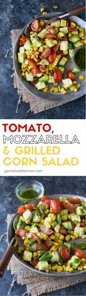 This Tomato, Mozzarella and Grilled Corn Salad with a tangy cilantro-lime dressing tastes just like summer on a plate!