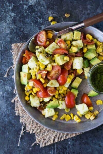 Tomato, Mozzarella and Grilled Corn Salad