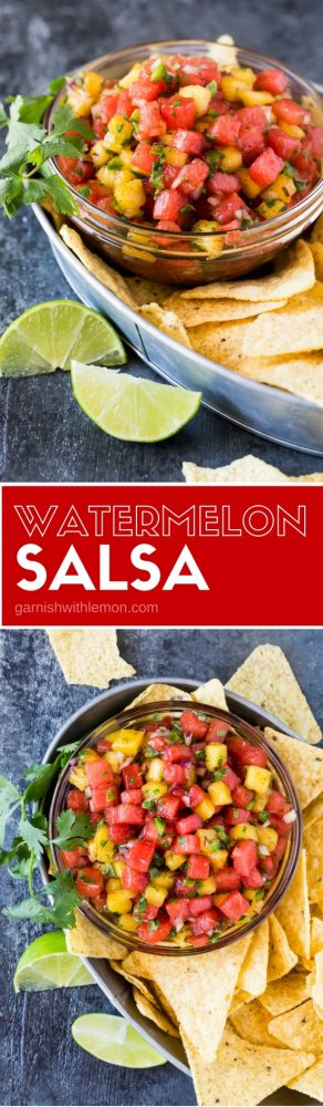 Need a quick and easy appetizer for your summer party? Put out a big bowl of this Watermelon Salsa and tortilla chips. It never fails to disappear!
