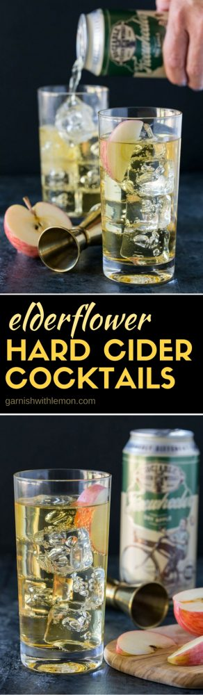Add an easy twist to your game day beverages with our 2-ingredient Elderflower Hard Cider Cocktails!