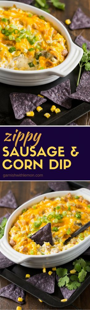 Hot from the oven, this Zippy Sausage and Corn Dip is the perfect tailgating snack for the big game!