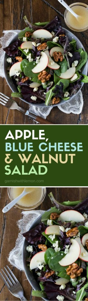 Salads don't have to be boring! This Apple, Blue Cheese and Candied Walnut Salad recipe is the perfect accompaniment to any entertaining menu!