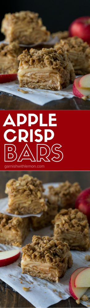 collage picture of apple crisp bars on parchment