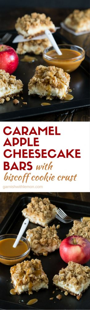Collage image of caramel apple cheesecake bars with Biscoff cookie crust