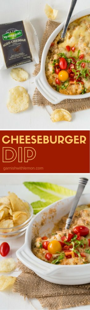 Shake up your game day appetizers with this warm, make-ahead Cheeseburger Dip recipe. It has all the flavor of a traditional burger in dip form!