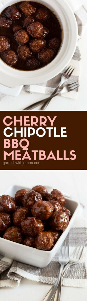 You can't go wrong with these 4 ingredient Cherry Chipotle Barbecue Meatballs. They are an easy make-ahead recipe that disappear at every party!