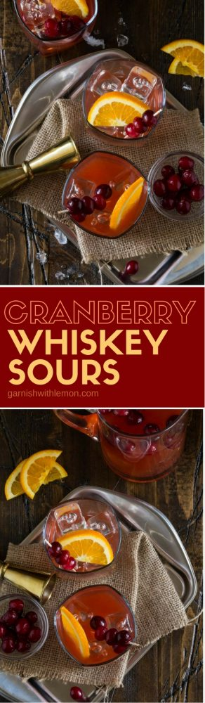 No fall party is complete without a batch of these easy, make-ahead Cranberry Whiskey Sours!
