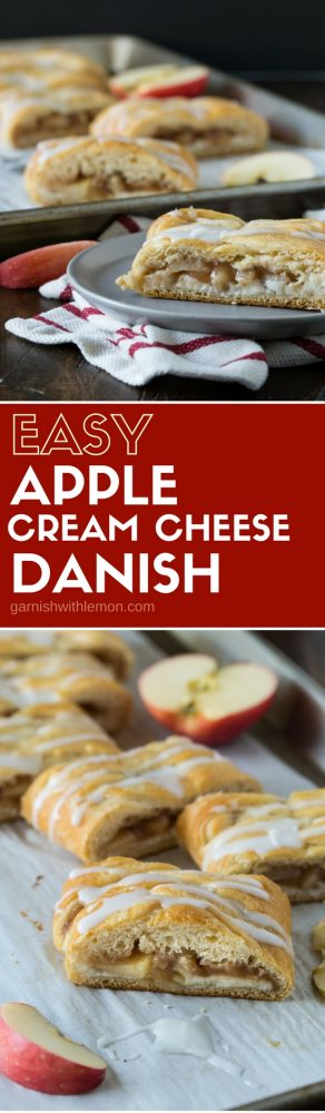 This Easy Apple Cream Cheese Danish recipe is great for weekend entertaining. You can make the filling ahead of time for an easy last minute assembly. ONe bite and you will never buy a bakery danish again!