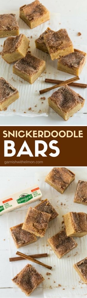 pile of cut snickerdoodle bars on plates.