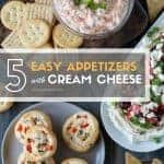 Party planning doesn't need to be stressful! Pull together a tasty menu in no time with these 5 Easy Cream Cheese Appetizers! #appetizers #easyappetizers #creamcheeseappetizers #partymenu