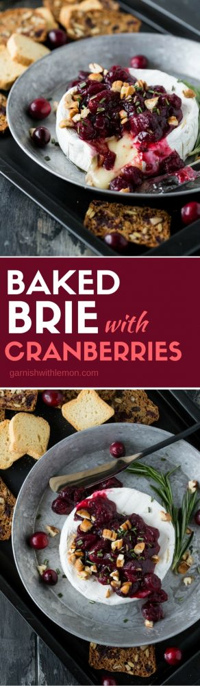 Two images of Baked Brie appetizer with Cranberries & Pecans