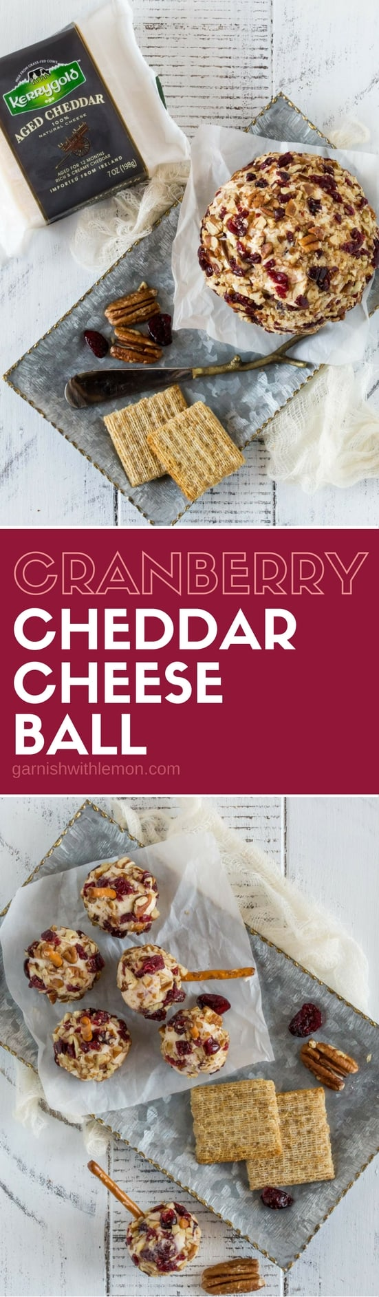The holidays just got delicious with this easy make-ahead Cranberry Cheddar Cheese Ball. Feeling extra festive? Make mini cheese balls and serve with pretzel sticks! #appetizers #cheeseball #partyfood #cheddar #cheddarcheeseball