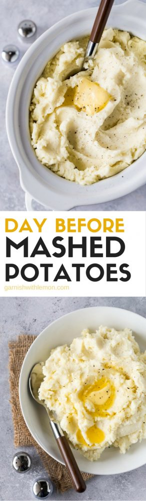 These Day Before Mashed Potatoes are a lifesaver when it comes to hosting. Make them the day before and reheat in your slow cooker! #thanksgiving #potatoes #slowcooker #crockpot