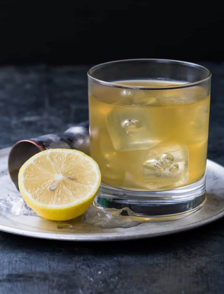 Gold Rush Cocktail with Bourbon and Ginger Liqueur