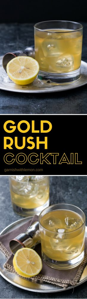 collage image of gold rush cocktail