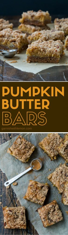 Filled with cinnamon, nutmeg and pumpkin, these Pumpkin Butter Bars are a delicious dessert option for fall potlucks and parties.