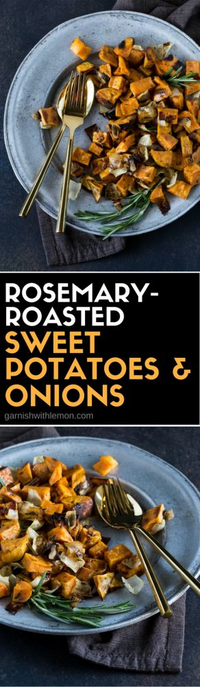 Side dishes don't get much easier than these savory Rosemary Roasted Sweet Potatoes & Onions. Paleo-friendly, too!  #paleo #sidedishes #easyentertaining #garnishwithlemon #sweetpotatoes #sides #roastedvegetables #thanksgiving