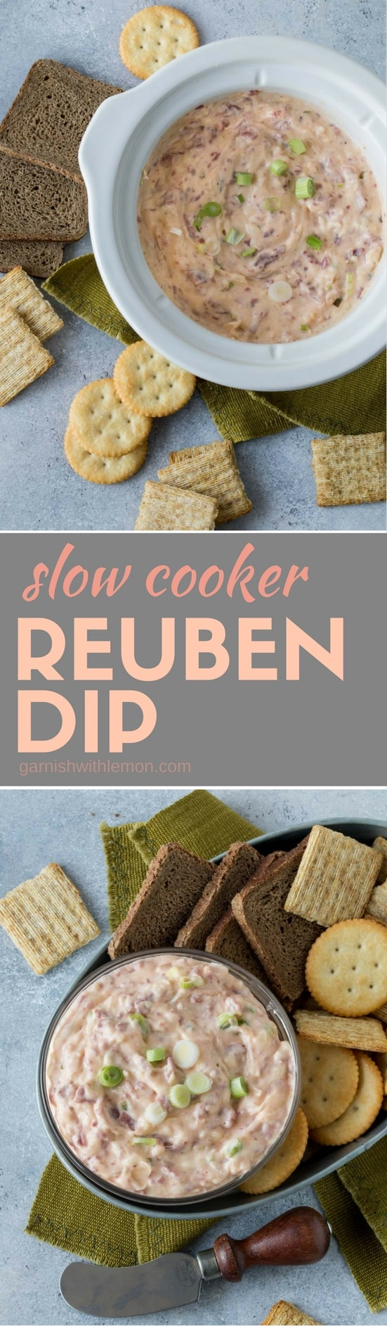 Slow cookers are always your friend when it comes to party planning. Just measure, chop and mix and let the crock pot work its magic with this Slow Cooker Reuben Dip. #slowcooker #crockpot #appetizers #diprecipe