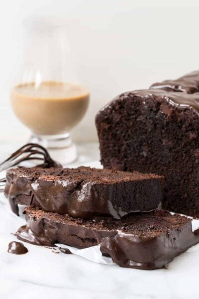 Triple Chocolate Irish Cream Loaf Cake