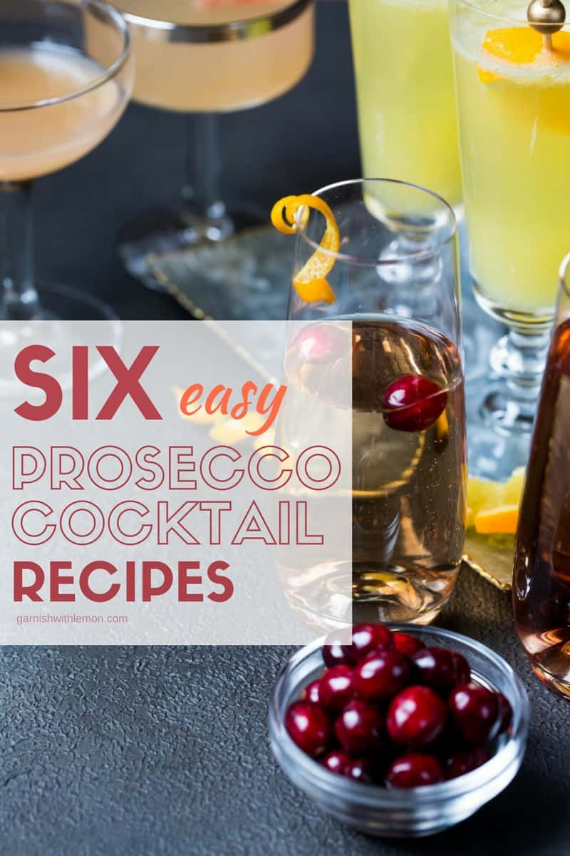 Easy Prosecco Cocktails in coupe glasses and champagne flutes