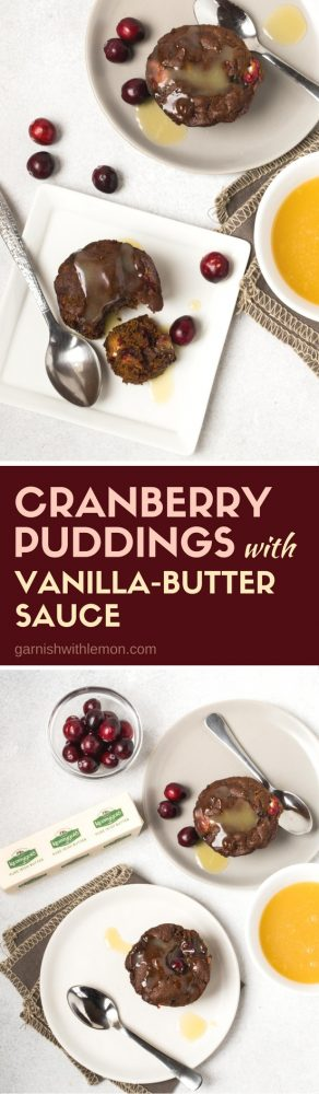 You can't go wrong when you make Cranberry Pudding with Warm Vanilla Butter Sauce for holiday desserts. And don't even think about forgetting the sauce, it completely makes the dessert, spoon it over pudding generously! #holidays #desserts #kerrygold #butter